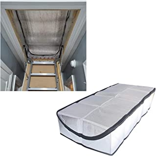 Attic Stairway Insulation Cover - Premium Energy Saving Attic Stairs Door Ladder Insulator Pull Down Tent with Zipper 25 in x 54 in x 11In