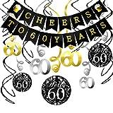 Konsait 60. Geburtstag Dekoration Set, Cheers zum 60. Geburtstag Girlande Banner Folie Spirale Deckenhänger, perfekte Männer und Frauen 60. Geburtstags Jahrestags Party Dekorationen...