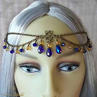Unicra Head Chain Jewelry Vintage Hair Accessories Silver Decorative Headbands for Women and Girls (Gold)