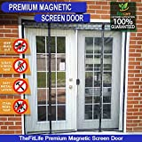 Double Door Magnetic Fly Screen - Heavy Duty Mesh Curtain with Full Frame Hook and Loop, Powerful Magnets, Snap Shut Automatically for Patio, Sliding, Large Door, Fits Doors up to 152x203cm Max