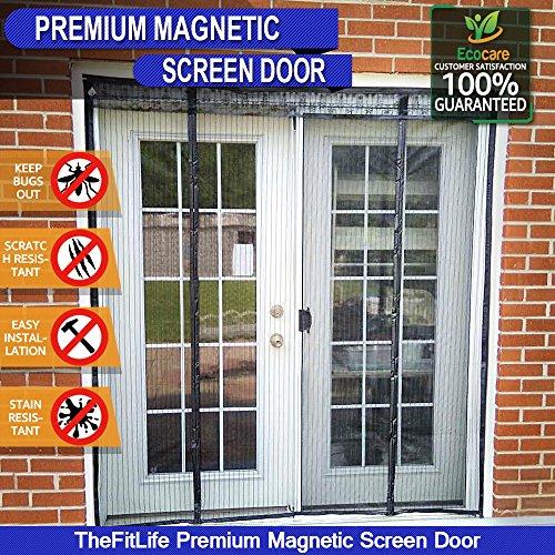 TheFitLife Cortina Mosquitera magnética para Puertas dobles - Malla con cierre de gancho y bucle e imanes potentes que cierran instantáneamente puertas grandes de patios (157x206cm Negro)