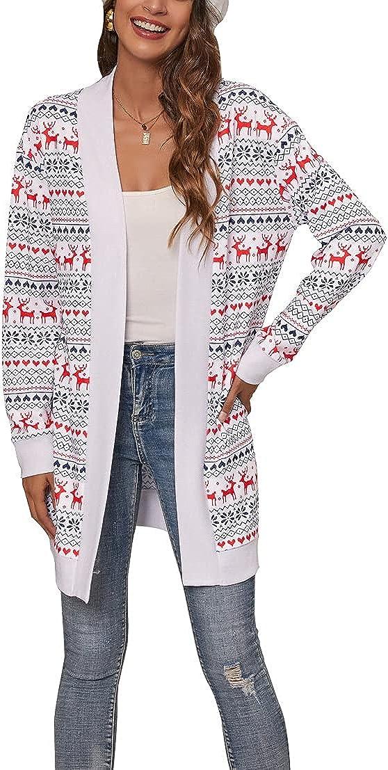 Women's Christmas Knitted Cardigan Reindeer Print Open Front Sweater Cardigan Coat