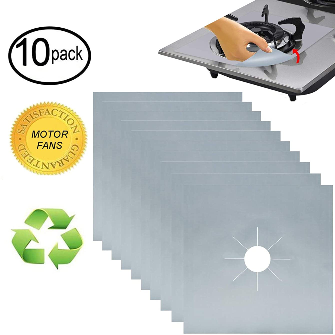 MOTORFANSCLUB 10 Packs Stove Burner Covers Gas Range Protectors Gas Cooktop Liner Cover Clean Mat Pad for Stove 0.2mm Double Thickness Gas Stove Cover for Kitchen Cooking, Dishwasher Safe Silver