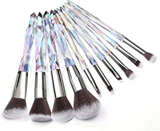 Kingtree Crystal Makeup Brushes Set 10 PCS Transparent Handle Kabuki Powder Foundation Brush Concealer Eye Shadow Eyeliner Eyebrow Brush for Girls Ideal Beauty Tool for Women - D