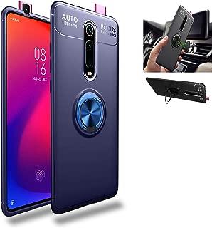 Xiaomi Mi 9T ケース,シリコーン TPU ショックプルーフ保護ケース,亜鉛合金360°回転する キックスタンド,吸着車のホルダー カバー ために Xiaomi Mi 9T / Xiaomi Redmi K20 Pro (ブルー/ブルー)
