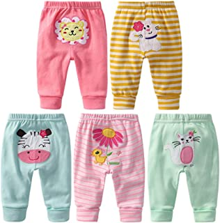 MeterMall 5PCS Baby Fashion PP Pants Cartoon Animal Printing Cotton Baby Trousers Kid Wear Baby Pants Girl Modes Random 36M