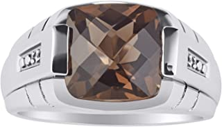 RYLOS Gorgeous 12MM Cushion Shape Checker Top Gemstone Color Stone and Genuine Sparkling Diamonds Set in Sterling Silver .925
