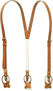 Genuine Leather Suspenders For Men with Elastic Strap & Interchangeable Clips