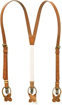 JJ SUSPENDERS Genuine Leather Suspenders For Men with Elastic Strap & Interchangeable Clips