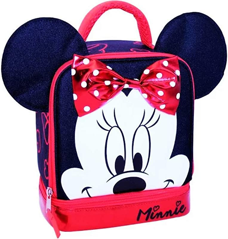 MINNIE MOUSE DISNEY Lead Free Dual Chamber Lunch Tote Bag Box W Ears Bow