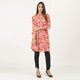 Casual & Party Wear Linen Printed Stitched Kurta Kurti Shirts Tops For Women