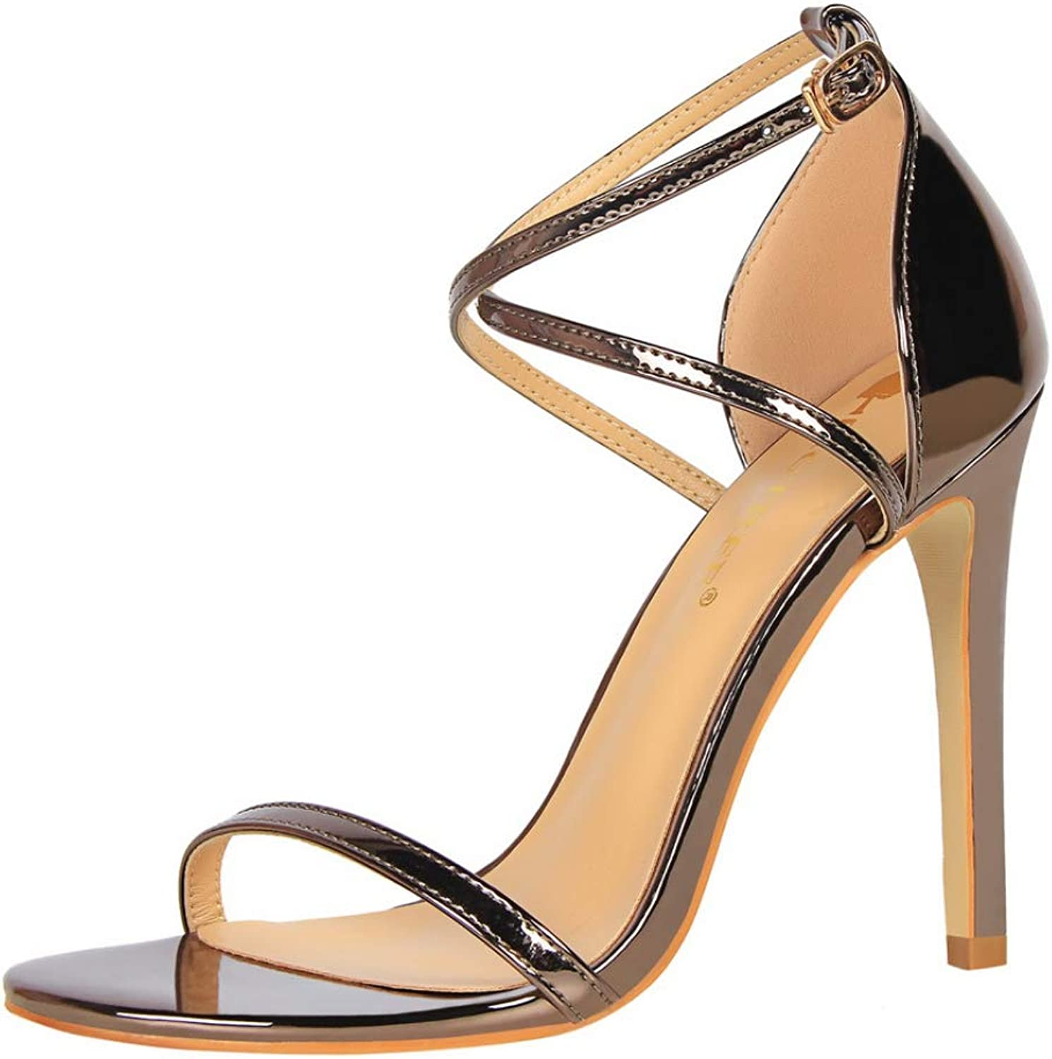 Woman Ssandals Patent Leather High Heels shoes Peep Toe Slides Buckle Pumps Sshallow shoes women Bronze Champagne Silver Black