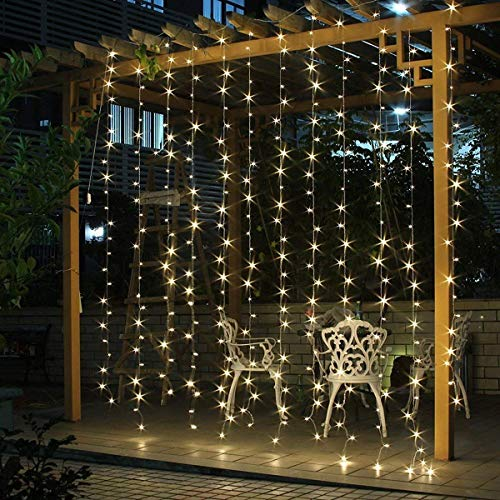 SALCAR Tenda Luminosa tenda catena LED 3 * 3 metro 300 LEDs illuminano tenda per le feste di Natale, Decorare, Party, 8 programmi scelta di (bianco caldo)