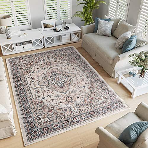 TAPISO Colorado Tappeto Salotto Moderno Soggiorno Crema Beige Motivo Floreale Orientale Tradizionale 160 x 220 cm