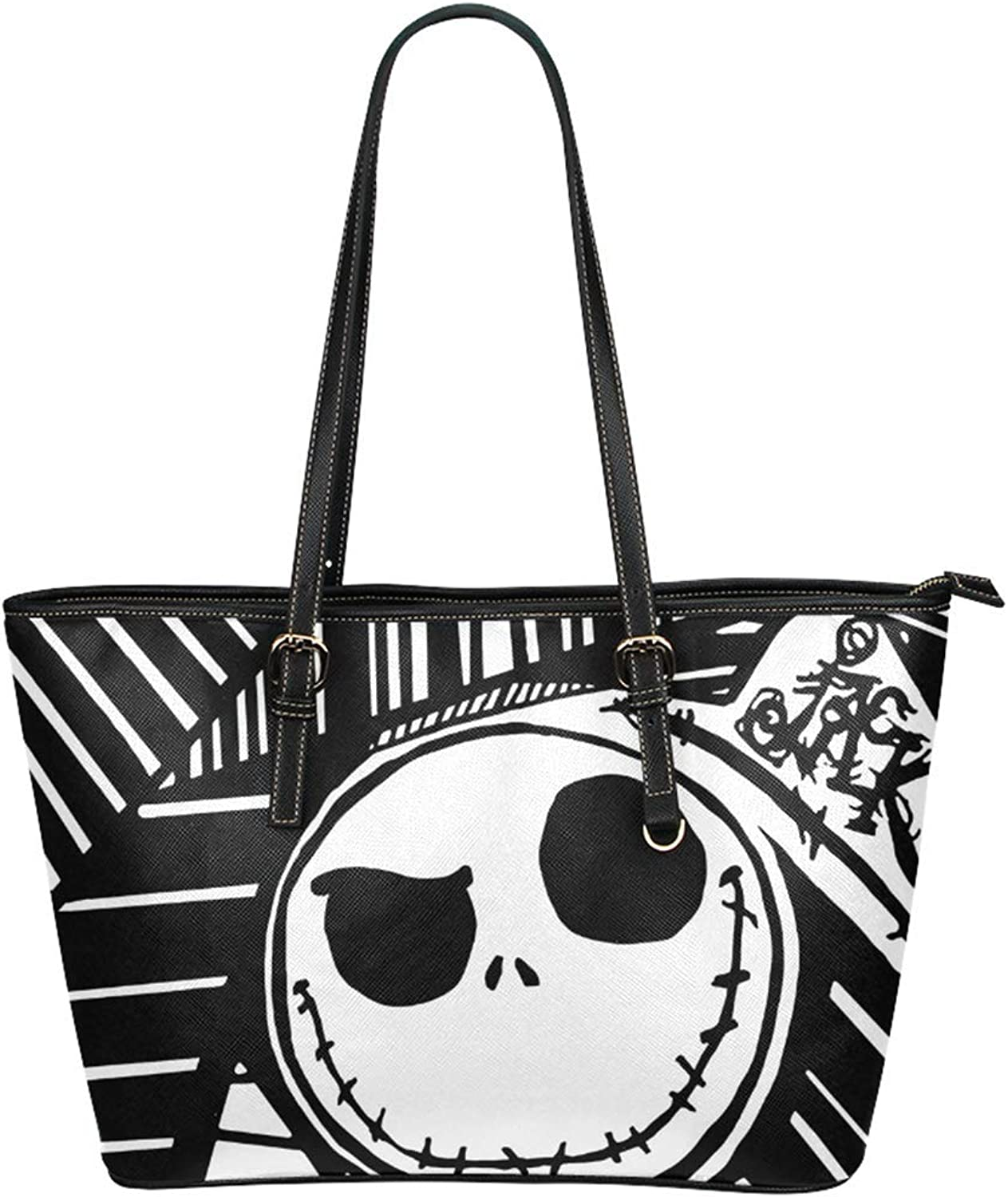 Cucoolso Jack and Sally Print Women Leather Top Handle Satchel Daily Work Tote Shoulder Bag Large Capacity