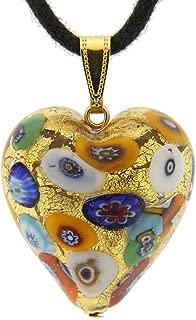 GlassOfVenice Murano Glass Heart Pendant - Klimt