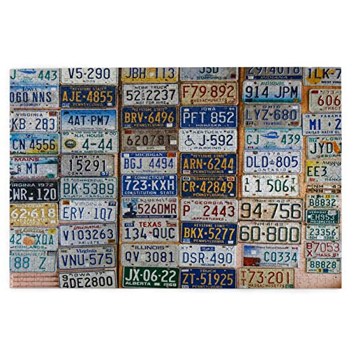 1000 piece Jigsaw puzzle,Discontinued License Plates Around Usa On,picture puzzle Games for Adults and Kids Family Wedding GraduationGi-ft