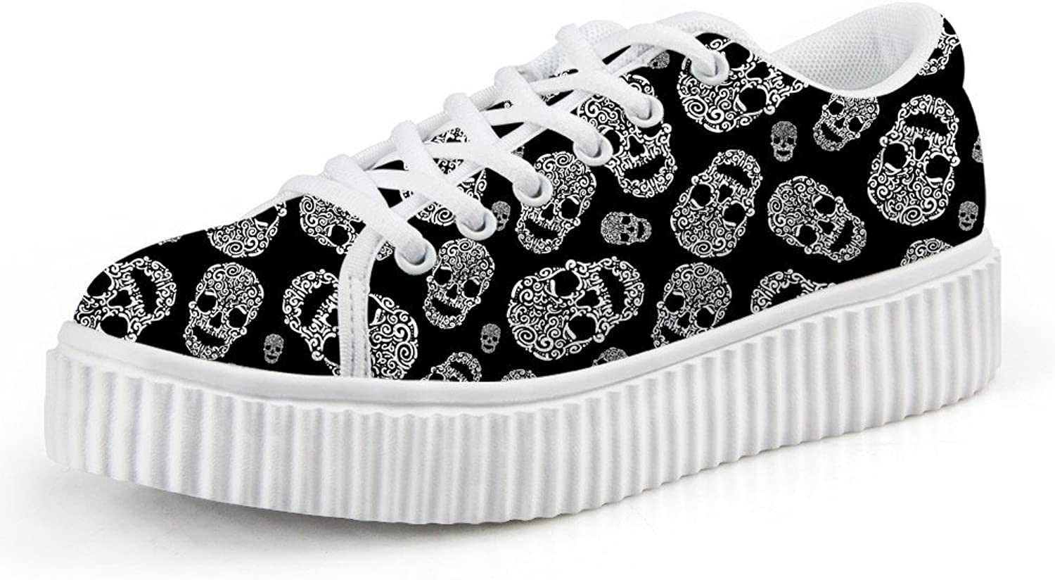 Chaqlin Trendy Platform Creeper Sneakers Trendy Punk Black Skull Lacing shoes US6