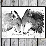 TinyTami Aquarell KunstdruckFuchs und WolfMoon of my life, my sun and stars' A4 oder A3PosterBildLiebe  FreundschaftGeschwister  Brüder  Schwestern  Freunde 100% handmade