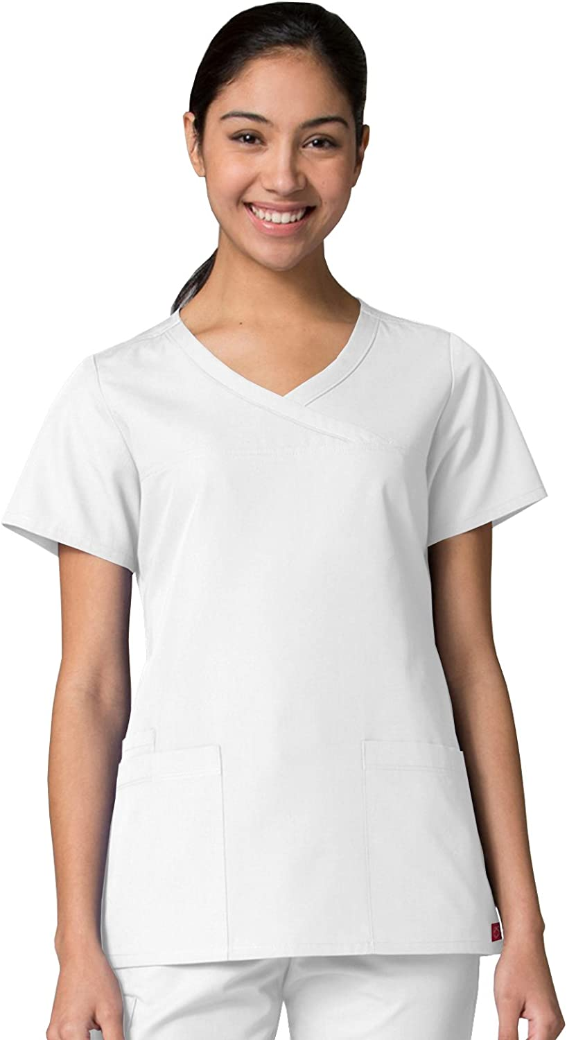 Red Panda Maevn Women's Curved Mock Wrap Top(White, Small)