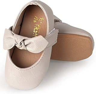 Baby Girl Shoes Soft Sole Ballet Flats Baby Walking Shoes with Flowers Infant Mary Jane Dress Crib Shoes for Toddler Girls