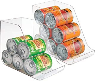 mDesign Canned Food Storage and Soda Organizer for Kitchen Pantry Or Cabinet - Pack of 2 Clear