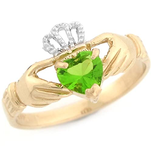 14k Two Toned Gold Claddagh Simulated Birthstone Ring