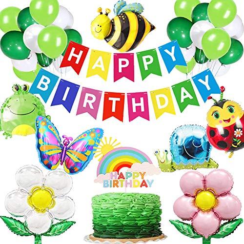 JeVenis 24 PCS Garden Birthday Decorations Bug Themed Birthday Decoration Garden Cake Decoration Garden Birthday Backdrop Butterfly Balloon for Kid Birthday Party