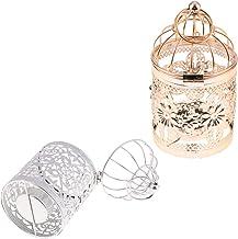 Fenteer 2Pcs Bird Cage Candle Holder Hanging Metal Vintage Pattern Lantern Candlestick Romantic Wedding Home Decor