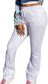 Pantalones Acanalados Informales de Cintura elástica Pantalones de chándal de Color sólido con Bolsillos Apilados