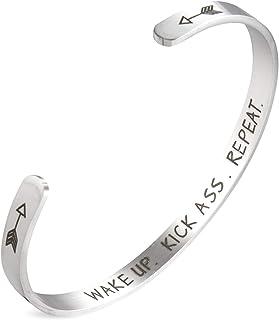 A N KINGPiiN Pulseras inspiradoras de acero inoxidable, regalo para mujeres, hombres adolescentes y niñas, con cita de man...