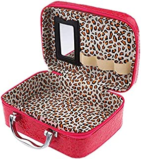 Horlite Latest Stylish Makeup Box for Women | Cosmetic Storage Boxes | Jewellery Organizer |Travel Toiletry Bag with Compact Magnifying Mirror for Travel (Multi-Colour)
