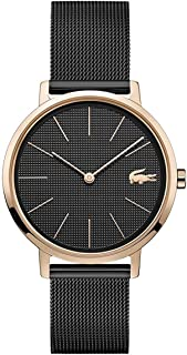 Lacoste Women's Black Dial Ionic Rose Gold Plated Steel Watch - 2001115