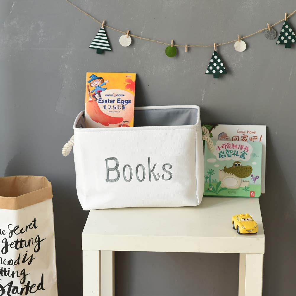 Books Basket for Baby Nursing Books//Coloring books//Magazines//Story//Library books INough Kids Books Storage Basket Baby Book Storage Box for Nursery//Kids Room//Classroom//Bedroom 14.2 x 10.2 x 9 Inches