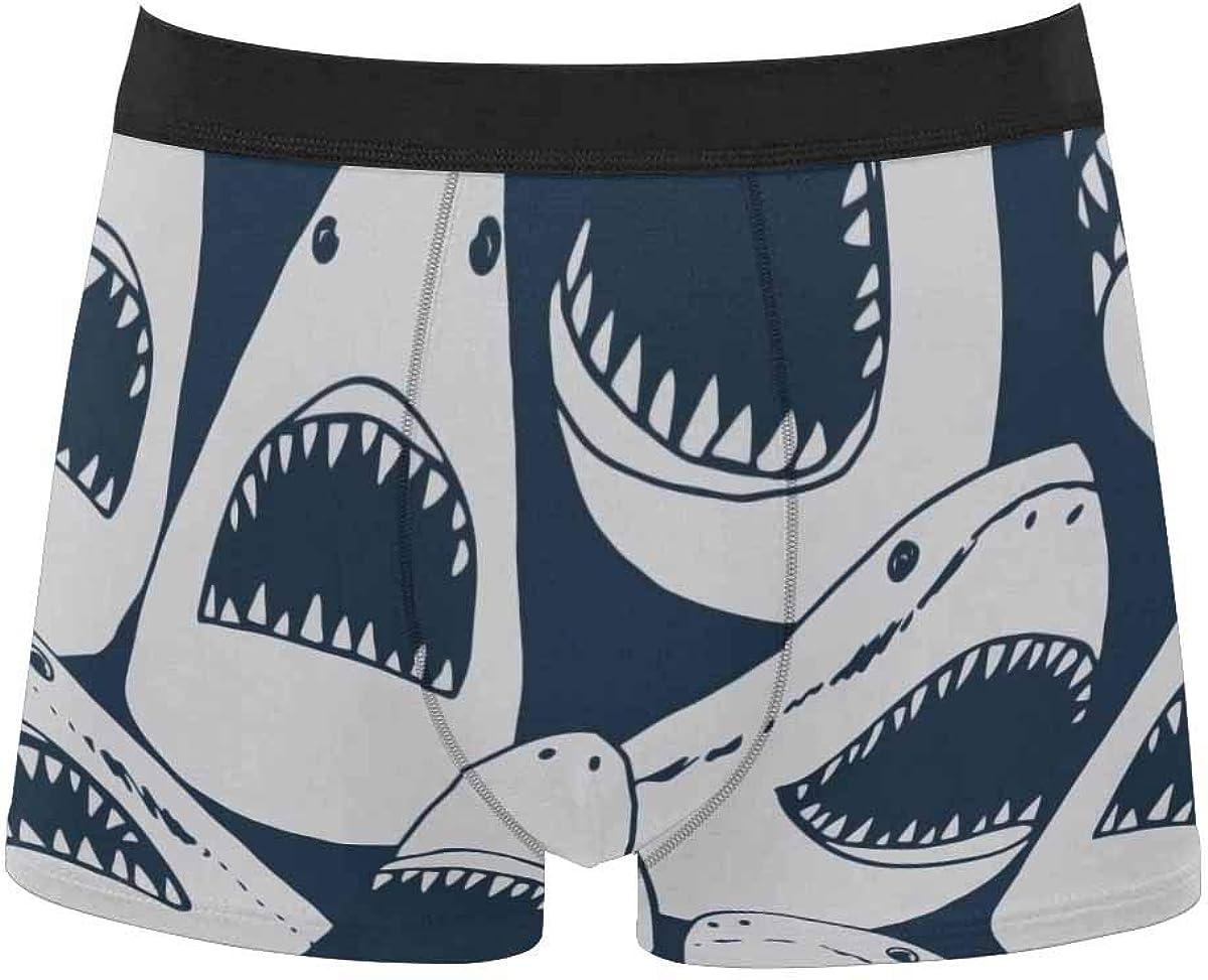 InterestPrint Men's Classic Fit Boxer Briefs Underwear Breathable Underwear Shark Under The Surface