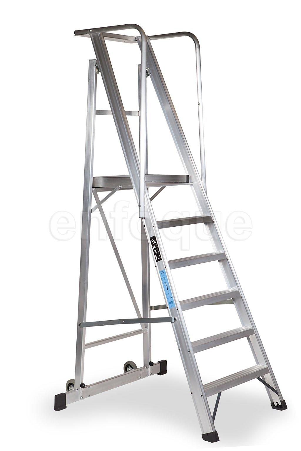 Escalera plegable con plataforma y guardacuerpos 10 peldaños móvil profesional serie 2xl: Amazon.es: Hogar