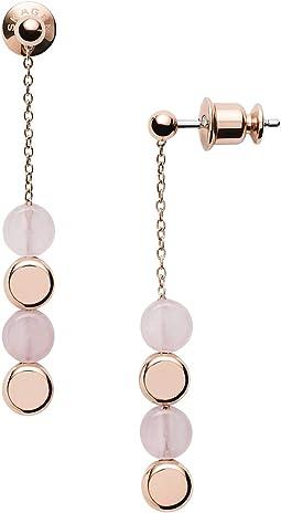 Ellen Rose-Tone Stainless Steel Rose Quartz Earrings