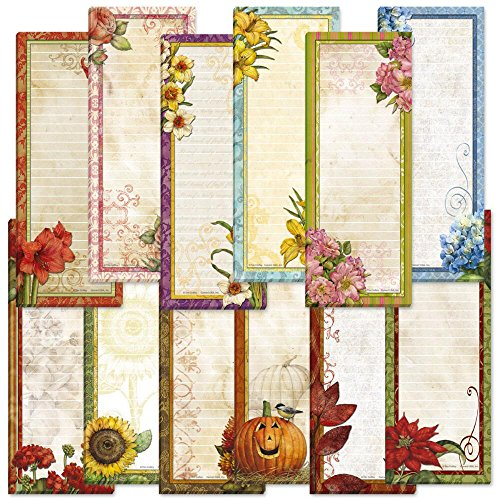 Seasonal Lined Magnetic Notepad Set – Set of 12, 30-Sheet Pads, 2½ x 6½ Inches, 1 Seasonal Design Per Month, Printed in the USA, by Current
