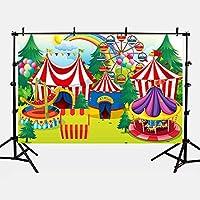 Mehofoto Circus telón de fondo de poliéster de 7 x 1,5 m para atracar la rueda de Ferris de los campamentos de arco iris, fondos de fotos sin costuras, dibujos animados para fiesta, fotografía y estudio de fotografía