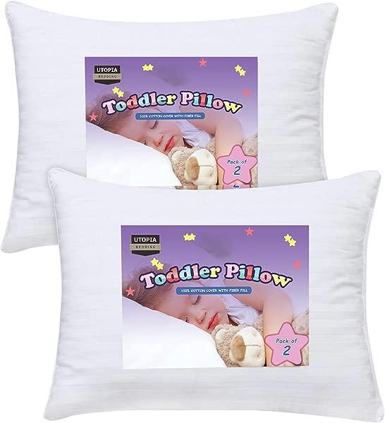 乌托邦床上用品学步枕头 2 个婴儿睡觉枕头 100 棉罩儿童枕头白雪公主 13X18 英寸