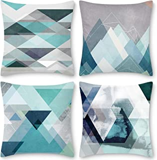 Decorsurface Teal Decorative Pillow Covers 18x18, Set of 4 Turquoise Art Throw Pillow Covers Cushion Cases for Living Room Bedroom - Modern Geometric Pattern
