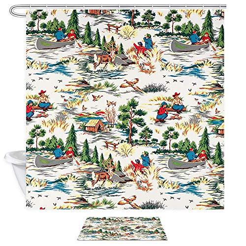 CICIDI Juego de cortinas de ducha para pesca, hombres remos a un barco de pesca, mujeres que tienden una cabina de fuego y árboles de pino, 182 x 182 cm, tela vintage, 43 x 182 cm
