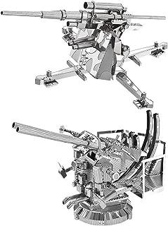 2pcs MoTu 3D Metal Nano Puzzle US Anti-Aircraft 40mm Twin Gun + German 88mm Flak Gun Model Kits W21103-04 DIY 3D Laser Cut Jigsaw Toys