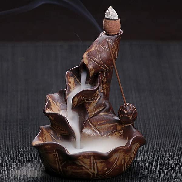 LONLLXL 倒流香炉陶瓷带 60 支香筒创意小莲花倒流香炉陶瓷仿古塔香炉香薰炉