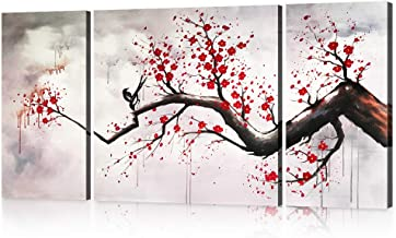 Hand-painted Modern Chinese Style Cherry Blossom The Plum Blossom Tree Wall Art Picture 3pcs Oil Paintings on Canvas Handm...