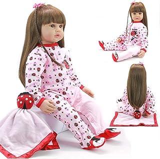 60cm miękkie winylowe silikonowe życie jak Reborn laleczka bobas dziewczyna długie włosy noworodka lalki brązowe oko dziew...