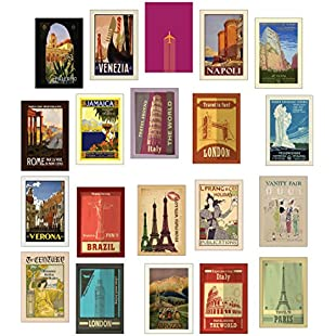 Retro / Vintage Travel Postcards - Set of 20 different designs