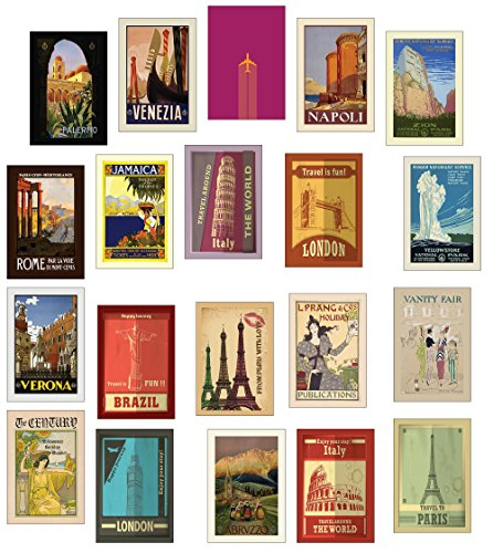 Retro-/Vintage-Reise-Postkarten, Set mit 20 verschiedenen Designs.