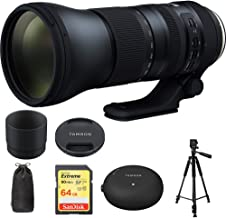Tamron SP 150-600mm F/5-6.3 Di VC USD G2 Zoom Lens for Canon Mounts Bundle with TAP-in Console, 64GB Memory Card and Full-Size 60 Inch Tripod