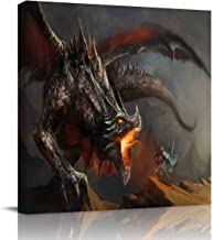 Canvas Print Wall Art Middle Ages Dragon Warrior Stretched and Framed Modern Giclee Artwork for Office/Livingroom/Bedroom/Hallway 28x28in